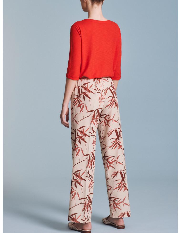 Pantaloni ampi fantasia foglie Ragno