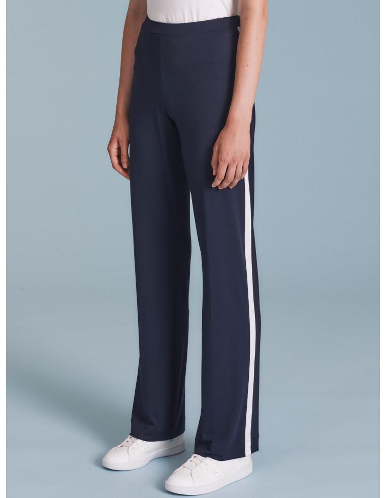 Pantaloni ampi blu con profilo bianco - by RAGNO