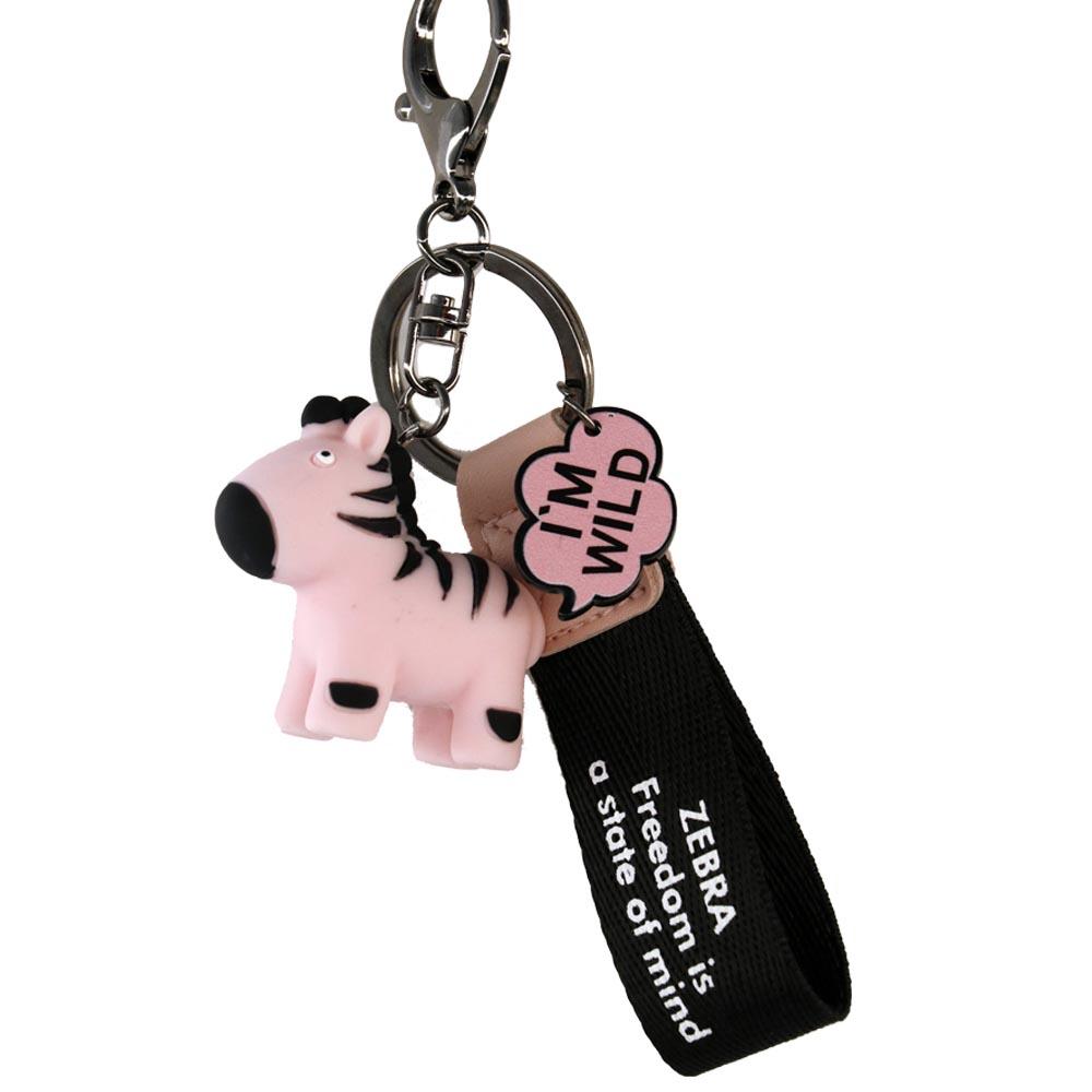 Portachiavi cute zebra rosa