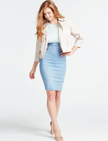 Gonna longuette in jeans - by GUESS