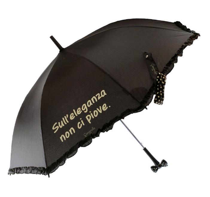 Ombrello automatico con fiocco nero - Camomilla Milano