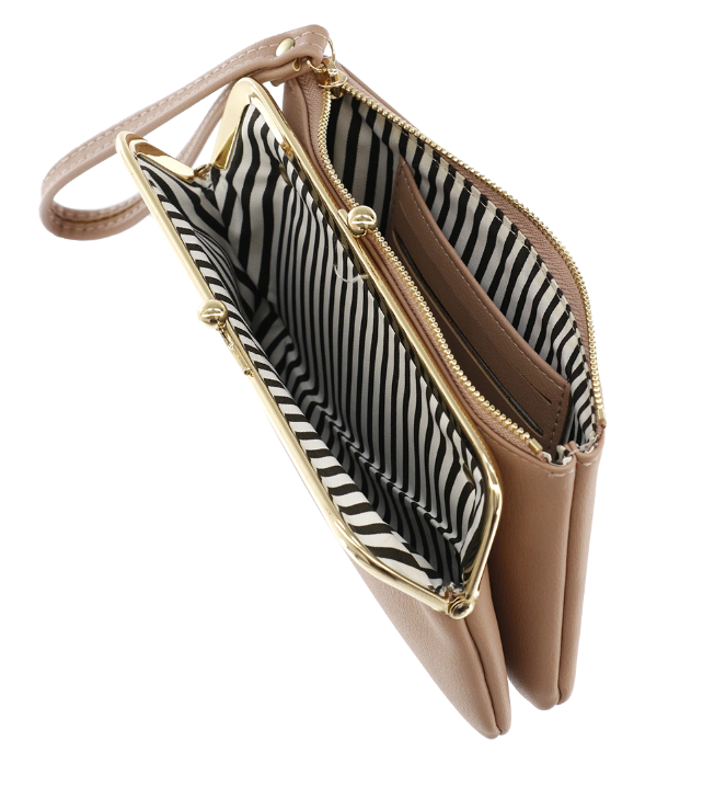 Portafoglio clutch e zip - Lulu - Tortora