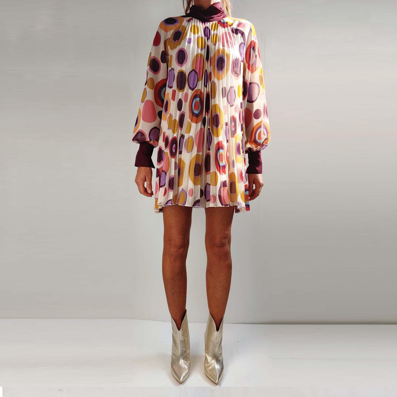 Vestito optical con maniche lunghe - by Denny Rose