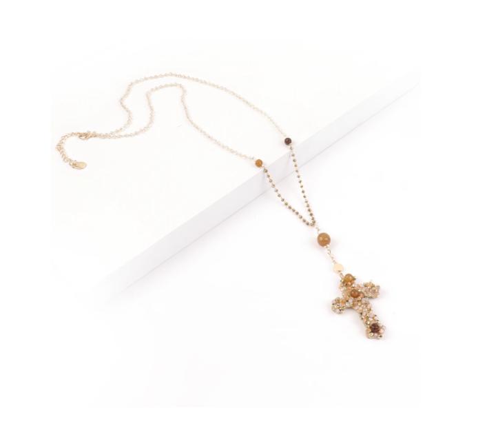 Collana lunga con croce pendente in cristallo