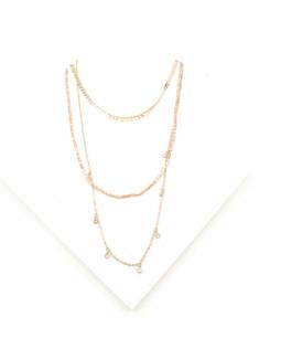Collana lunga multifilo con perline e ciondoli